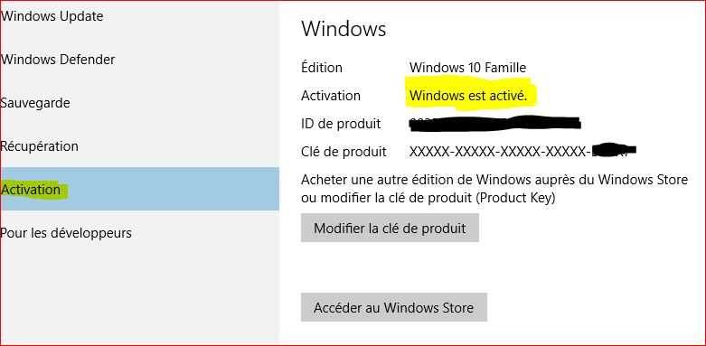 Clé activation windows10 803410172