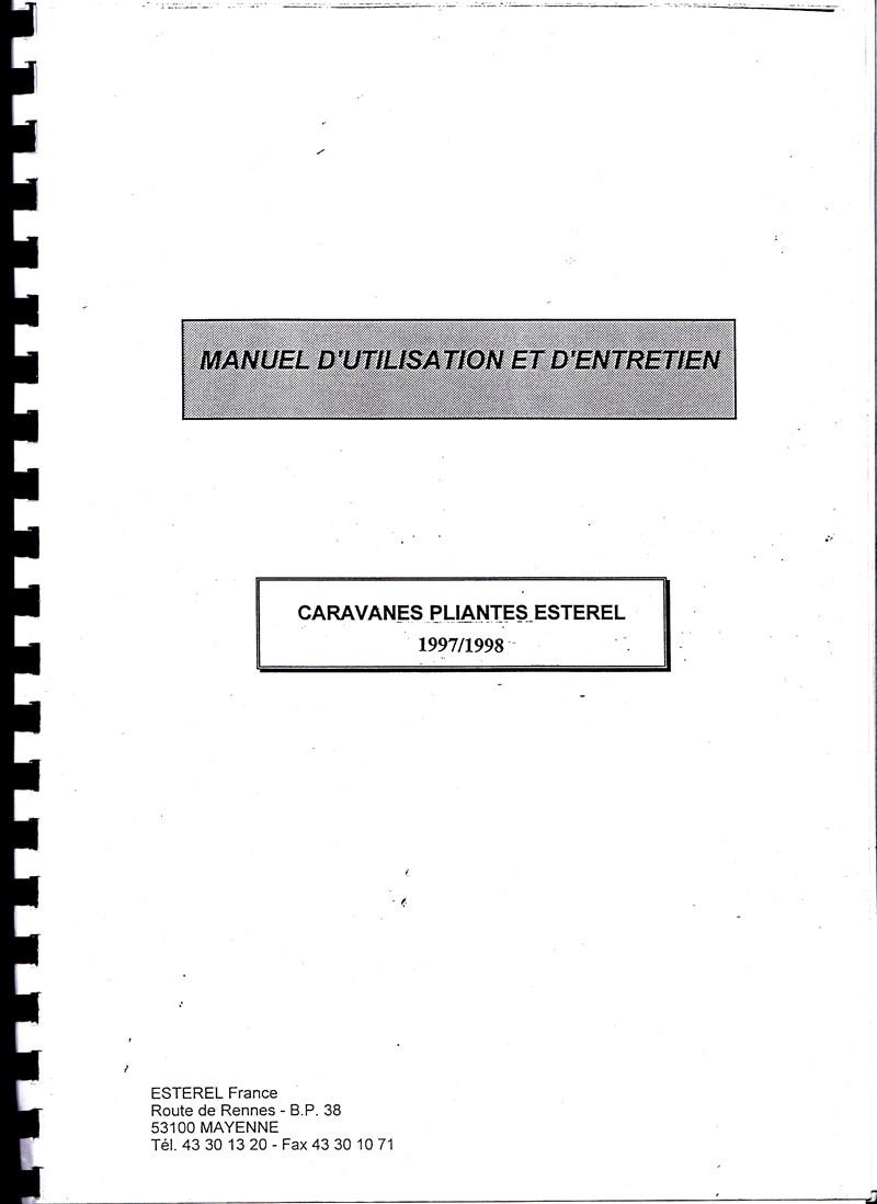 Manuel d'utilisation et d'entretien des caravanes Esterel 1997/1998 806583IMG0000