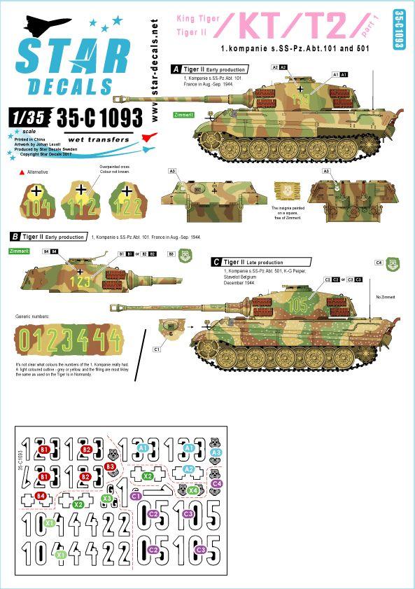 King Tiger Sd.Kfz.182 (Henschel) - TAKOM - 1/35 878867Abt501DecalsStarD