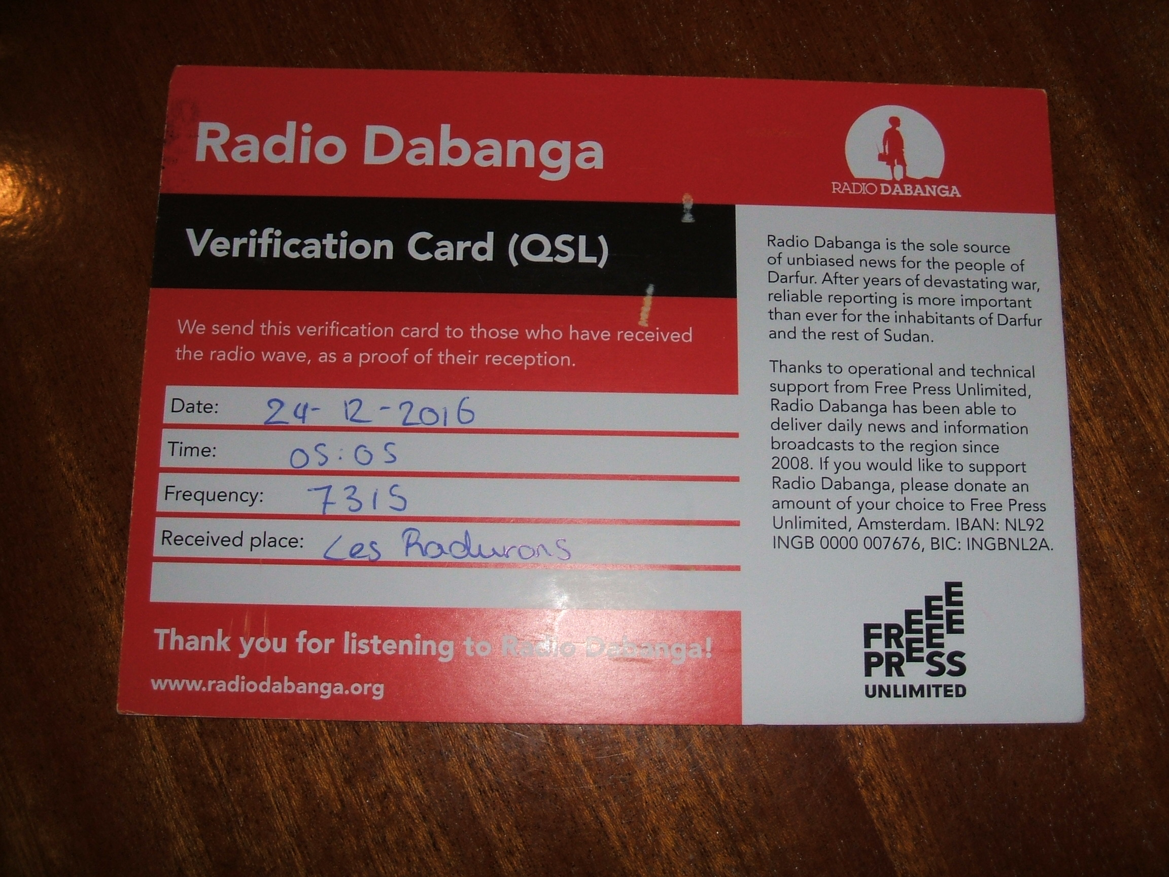 QSL Radio Dabanga 903378Photo