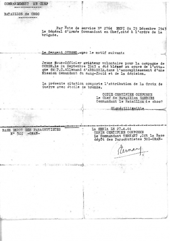Caporal OUSSET Camille BrevetN° 207 916927OussetJPG1