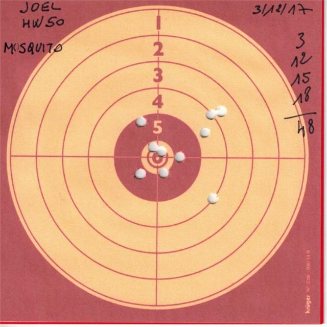 Tests plombs avec carabine Weihrauch HW50S 927216HW50UMAREXMOSQUITO