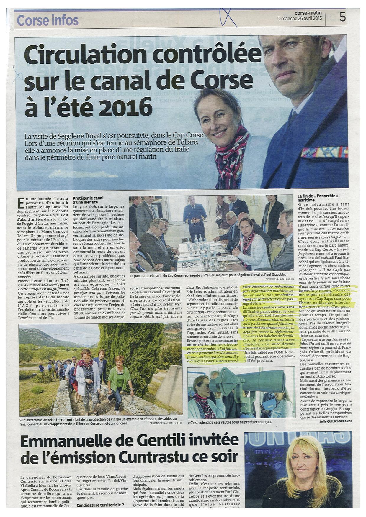 SÉMAPHORE - CAP CORSE (CORSE DU NORD) - Page 2 942015ArticleCorseMatinCapCorse260415