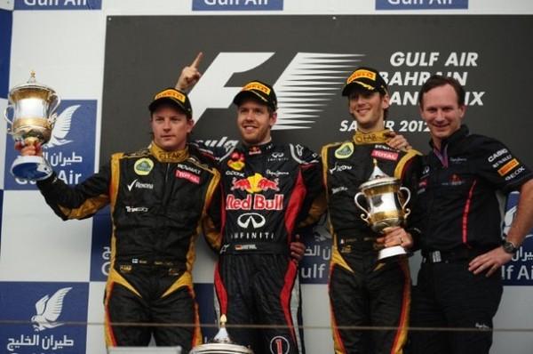 F1 GP de Bahreïn 2012 : Victoire Sebastian Vettel 9503192012KimiRaikkonensebastianvetteromaingrojean1