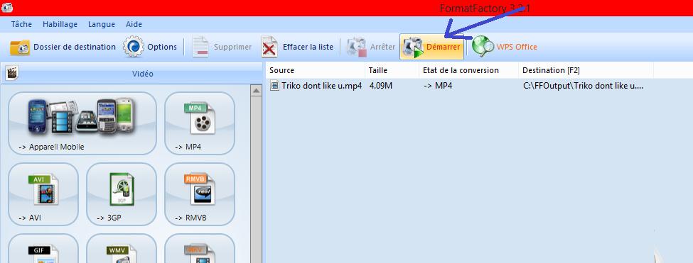 (Incrustations) Incruster des sous-titres avec Format Factory ou AVI Recomp (quand Virtual Dub ne marche pas) 956940008Dmarrerconversion
