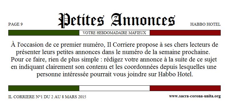 Il Corriere N°1 du 2 au 8 mars 2015 970501Petitesannonces