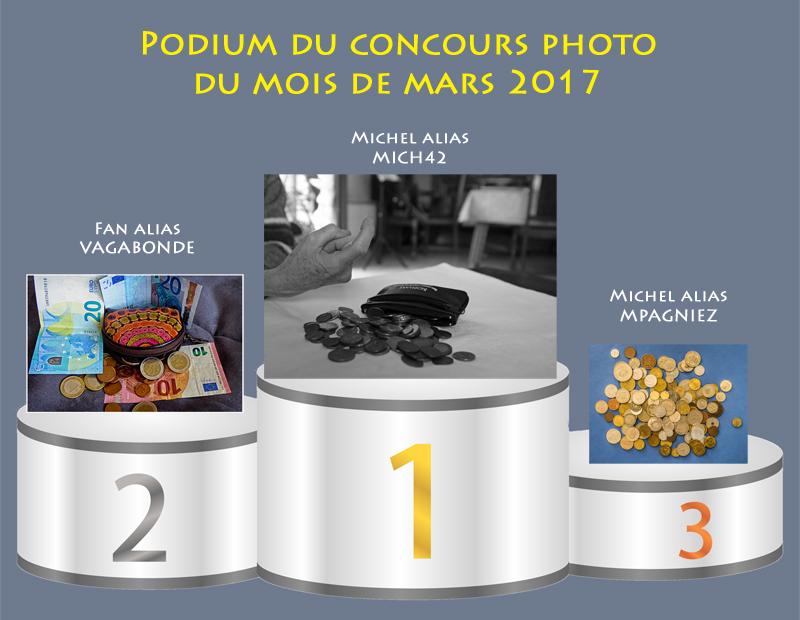 """Concours photo du mois de mars 2017 - Thème """"Par ici la monnaie..."""" (terminé) 255336PodiumMars"""
