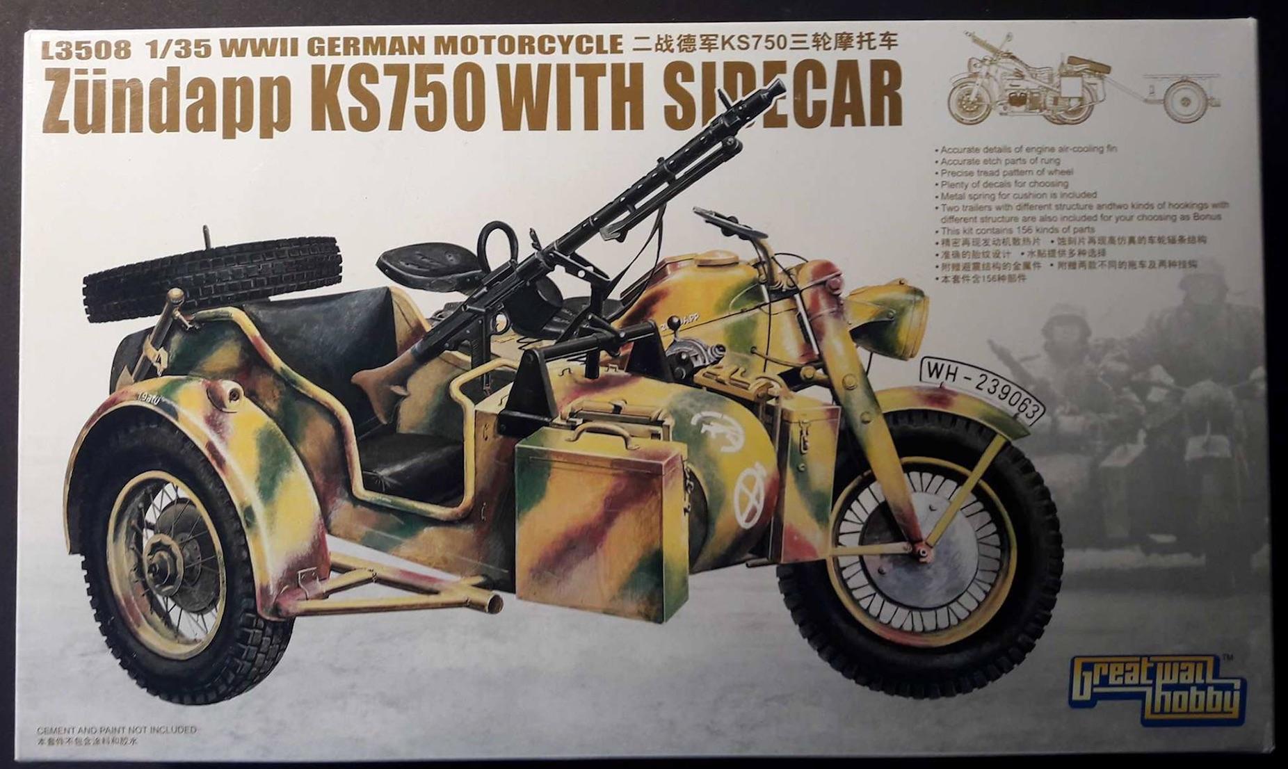 Zündapp KS750 - Sidecar - Great Wall Hobby + figurines Alpine - 1/35 283308ZundappBox