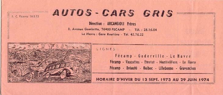 Fécamp - Cars Arcangioli  289963Autocarsgrishoraire19731