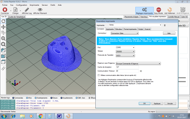 L'impression 3D: présentation du futur du maquettisme!  324045VertexRepetierParamtresimprimante
