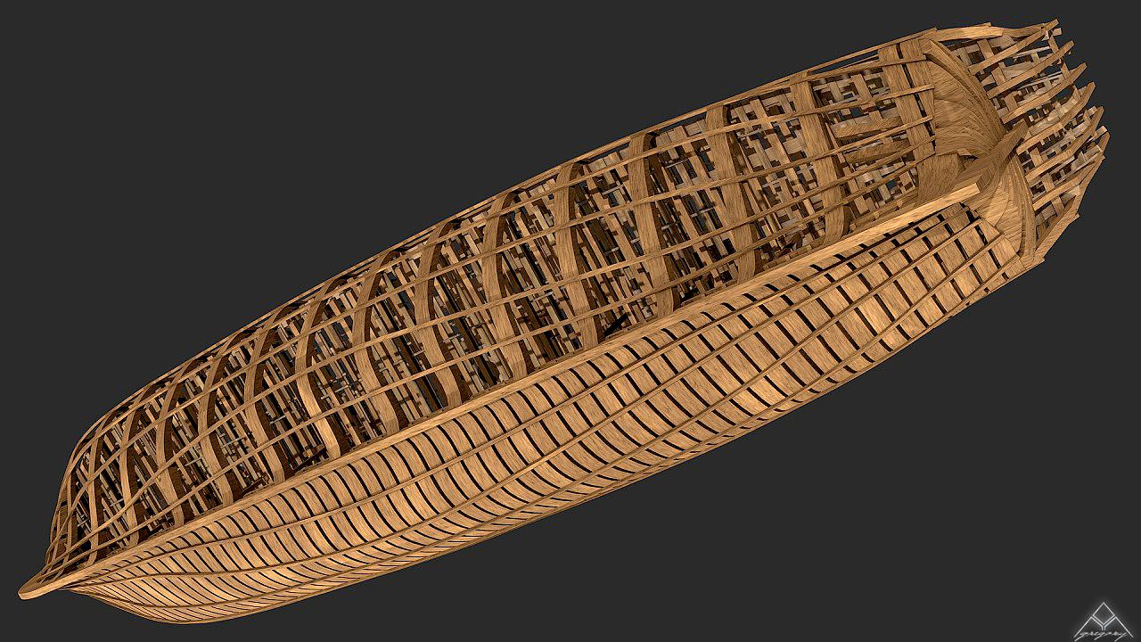 Vaisseau 74 canons Lucide [Création 3D] de Greg_3D - Page 4 383643664143Squelettevuedessous