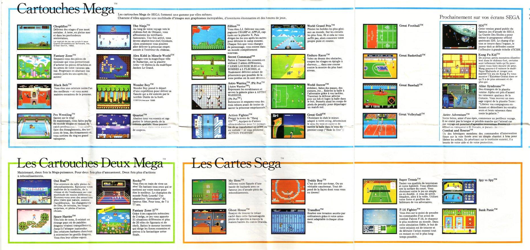 Tentative liste Line Up France Sega Master System printemps 87. 388168catalogue0verso