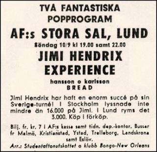 Lund (Stora Salen) : 10 septembre 1967 [Premier concert] 3948581009579