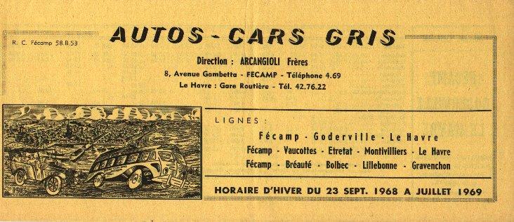 Fécamp - Cars Arcangioli  401035Autocarsgrishoraire19681