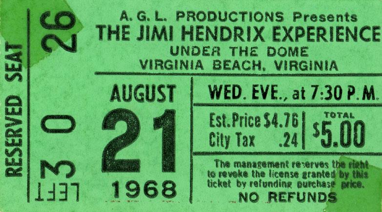 Virginia Beach (Civic Dome) : 21 août 1968 [Second concert] 555169JimiHendrixVirginiaBeachDomeTicket