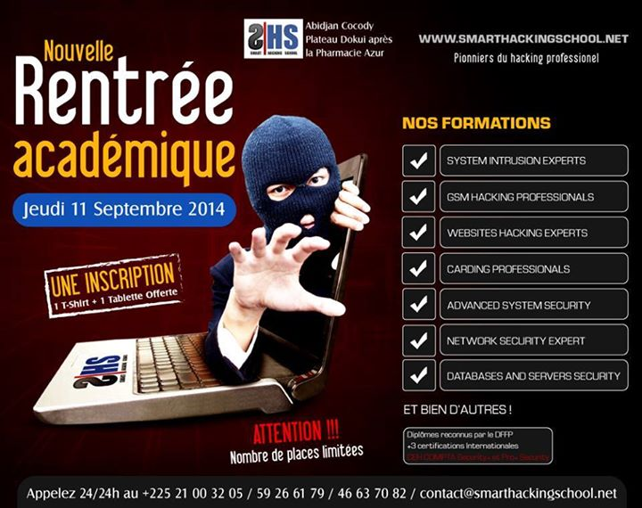"SMART HACKING SCHOOL ""FORMATION HACKING PRO, SECURITE INFORMATIQUE ET PEN-TESTING"" 600797154023067003395022049194302756616813453n"