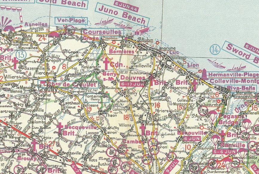 reherche cartes bigot ou autres secteur juno 1944 624431Normandie1947