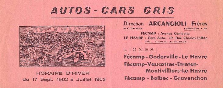Fécamp - Cars Arcangioli  629238Autocarsgrishoraire19621
