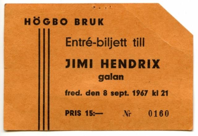 Hogbo (Popladan) : 8 septembre 1967 [Second concert]  670924JimiHendrixBiljettHgbo001FB525