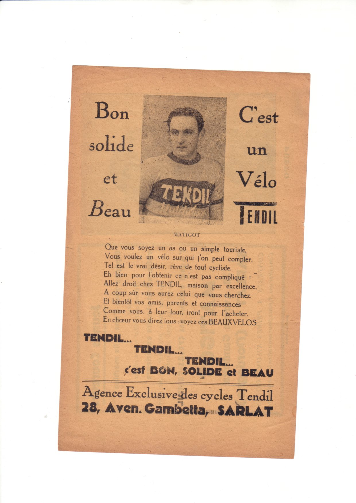 Vélo de course TENDIL 1939 718047pubavecMatigot