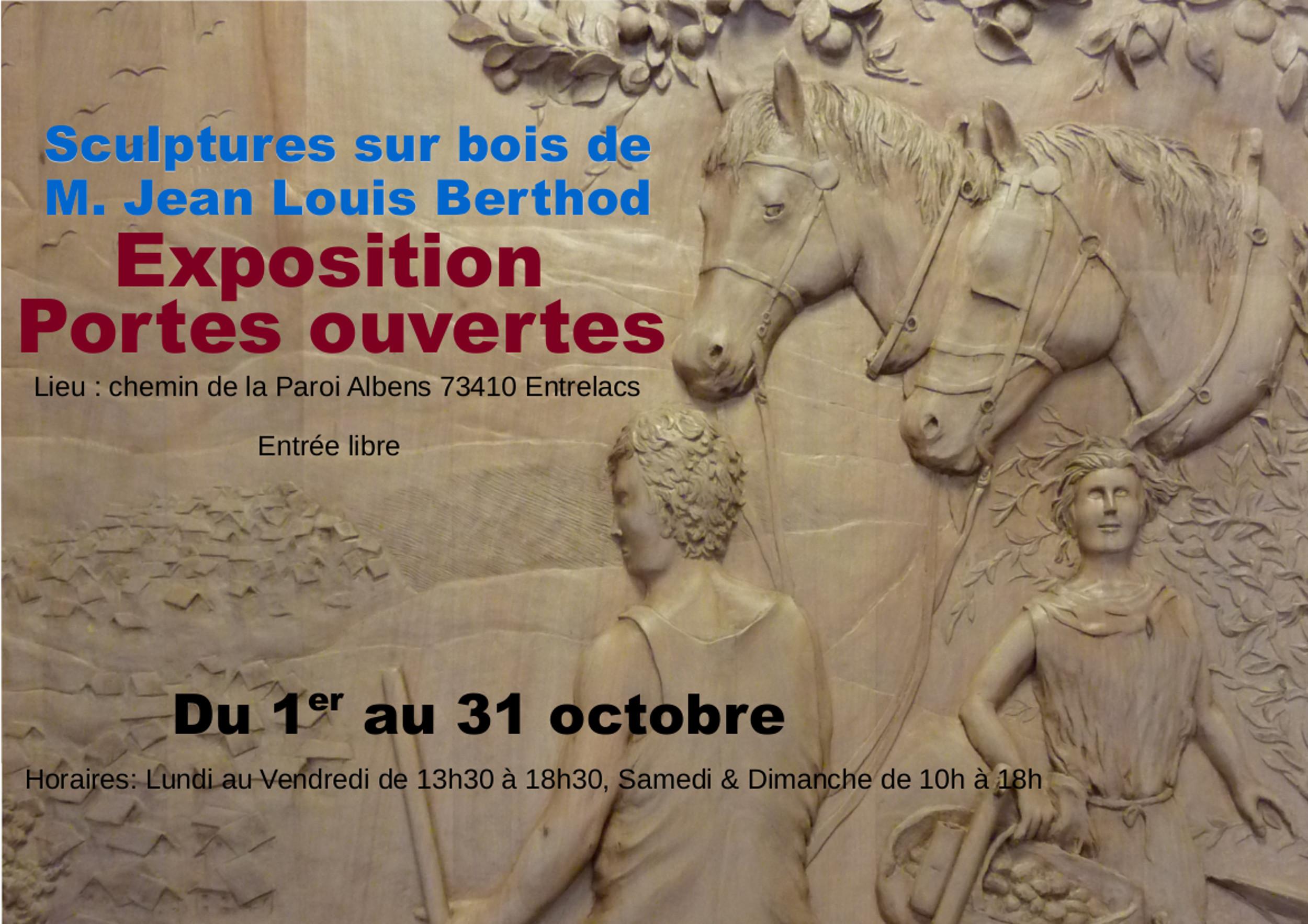 Exposition Jean-Louis Berthod - 01/10 au 31/10/2016 - SAVOIE 735502afficheexpositionetportesouvertesalatelierdesculpturessurboisdemjeanlouisberthod