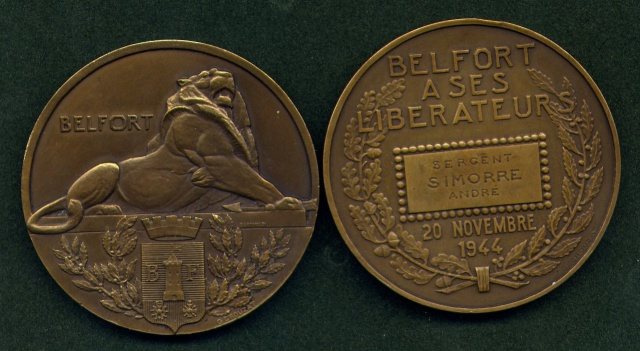 LES INSIGNES DU BATAILLON DE CHOC 1943/1963. 786800MdailleBelfortSIMORRE