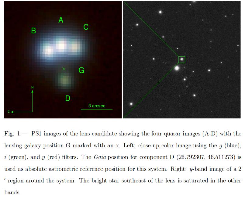 """Quasar J014709+463037 """"le Parachute d'Andromède"""" au T60 844165Quadlensed"""