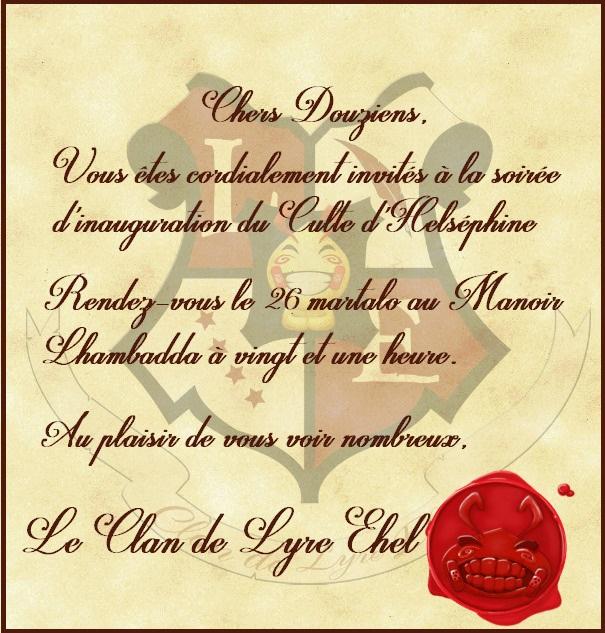 [26/03/647 ~ CR] Cérémonie d'ouverture du Culte d'Helséphine IX 864864parchoeventCopie