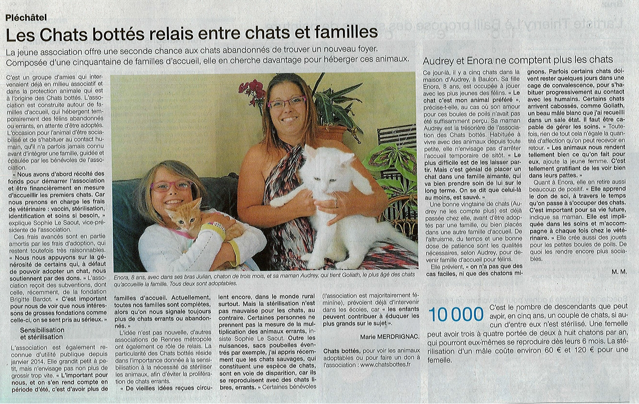 Les Chats Bottés dans Ouest France ! 970750OuestFrance082014