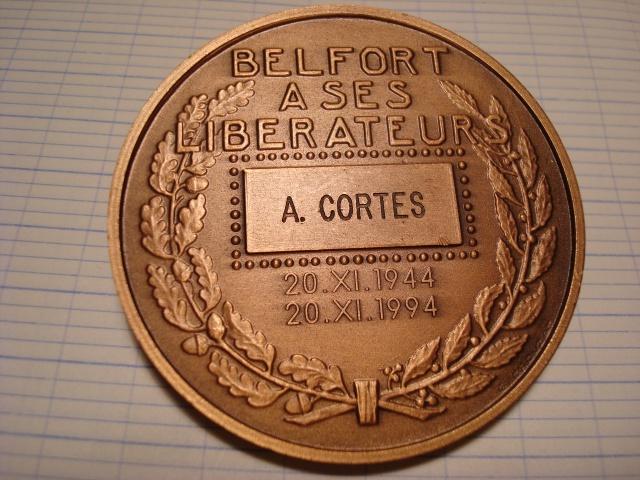 LES INSIGNES DU BATAILLON DE CHOC 1943/1963. 973092MdailleBelfortCORTES50ans