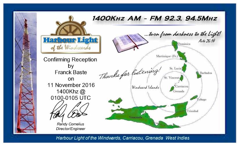eQSL de Harbour Light (Ile de Grenade) 1400kHz 985306QSLFranckBaste