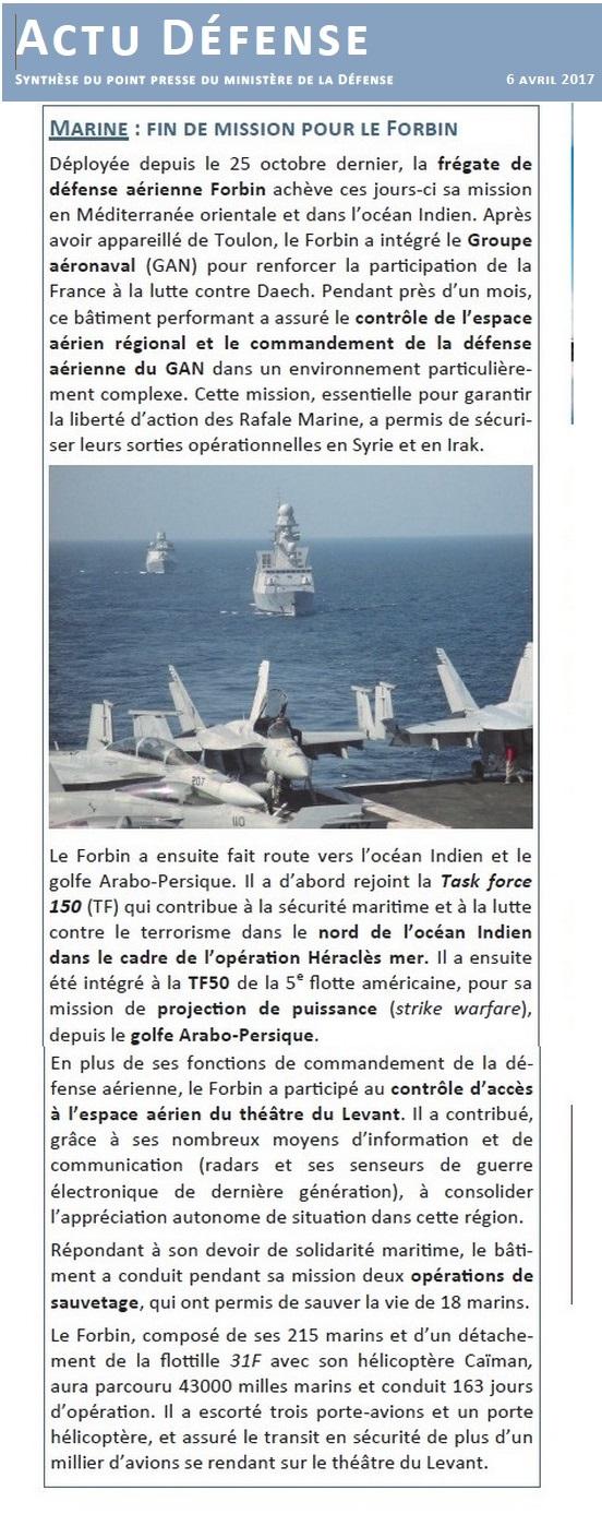 FORBIN  D620 (fregate) - Page 15 985352Actu