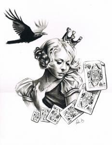 """La Dame de coeur au corbeau"" ● Lixya Mini_405200dessinportraitdamedecoeurcorbeaurealisteartdudessin"