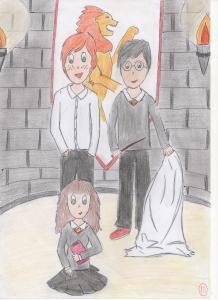 Vos Fanarts Harry Potter - Page 2 Mini_559145HermioneRonetHarrydanslasallecommunedeGryffondor001