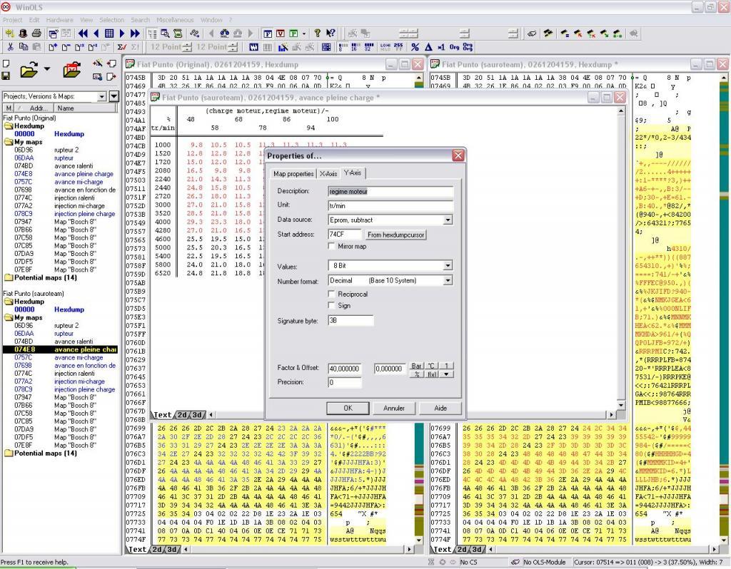 Cartographies d'injections ph1 & 2 du motronic 2.7 avec WinOls  8151633_ordonnees_tr_min