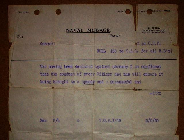 ROYAL NAVY PORTE AVIONS ARK ROYAL 898407Declaration_of_war_naval_message