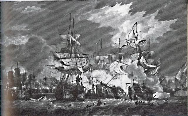 La bataille de trafalgar avec des bateaux en coquille de noix 747063TRAFALGAR