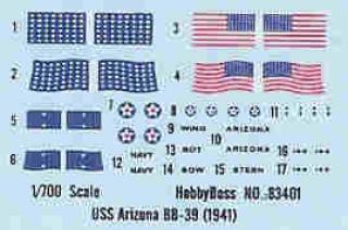 USS Arizona - 1/700e - Hobby Boss 832710Arizona___Decals