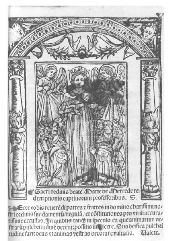 Virgen de la Merced / Emblema mercedario pezuelada S-XVII (R.M. Pe Merced 2) Grabado1533