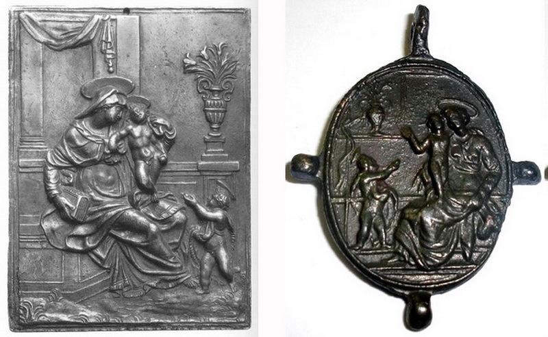 Virgen con Niño y san Juanito  / San Francisco de Asís, S. XVI-XVII (R.M. Pe Virgen con Niño 8) Plaquitasanjuanito