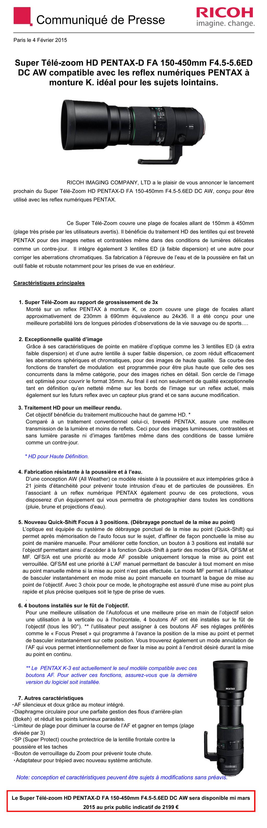PENTAX RICOH IMAGING - Communiqué de Presse 04/02/2015 - D FA 150-450 F4.5-5.6ED DC A XsSTwF