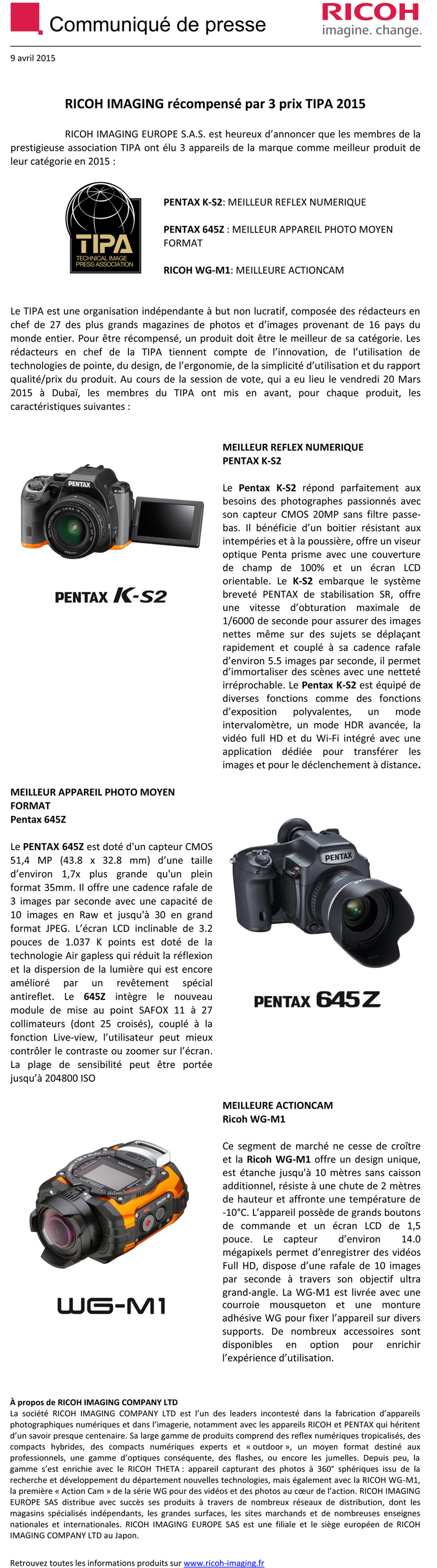 TIPA 2015 : Triplé gagnant pour PENTAX RICOH IMAGING RIK48J
