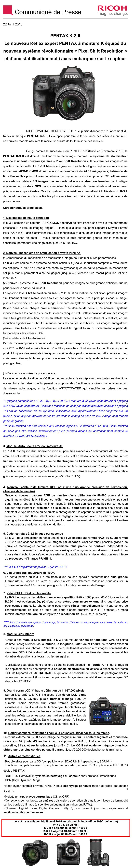 PENTAX RICOH IMAGING - Communiqué de Presse 22/04/2015 - PENTAX K-3 II NNwTsz