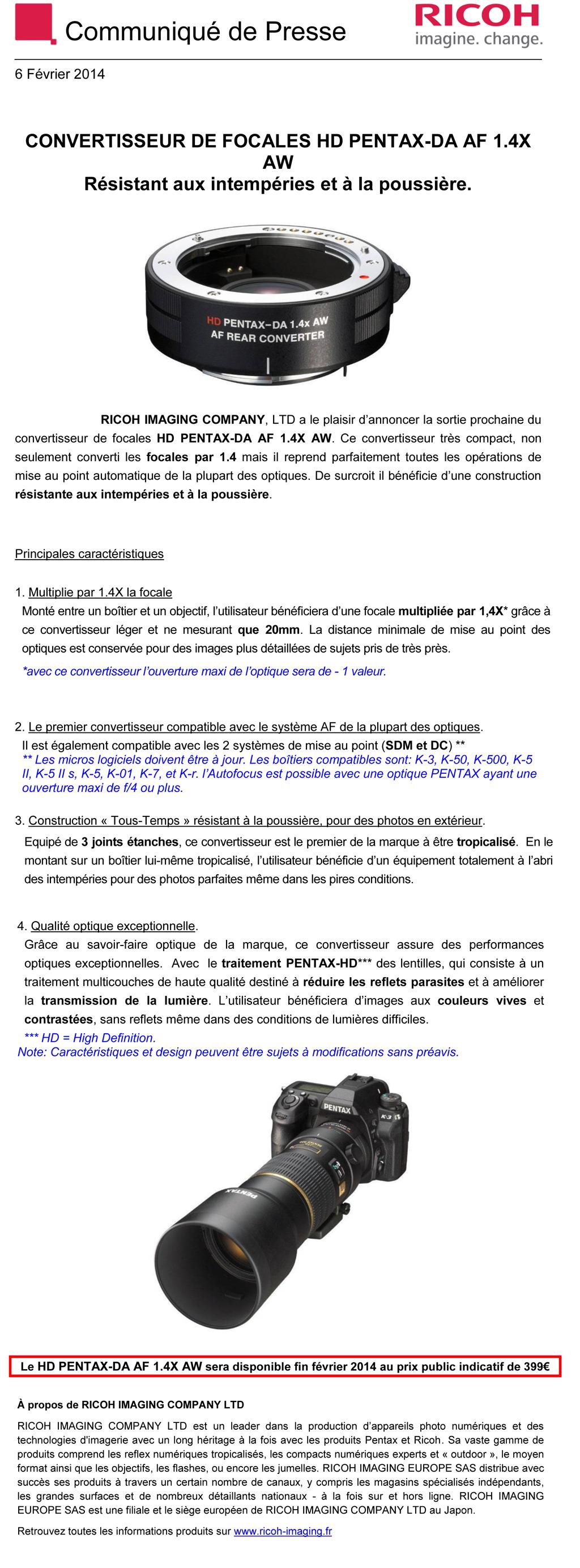 PENTAX RICOH IMAGING - Communiqué de Presse 06/02/2014 - CONVERTISSEUR DA AF 1.4X AW 4q9o