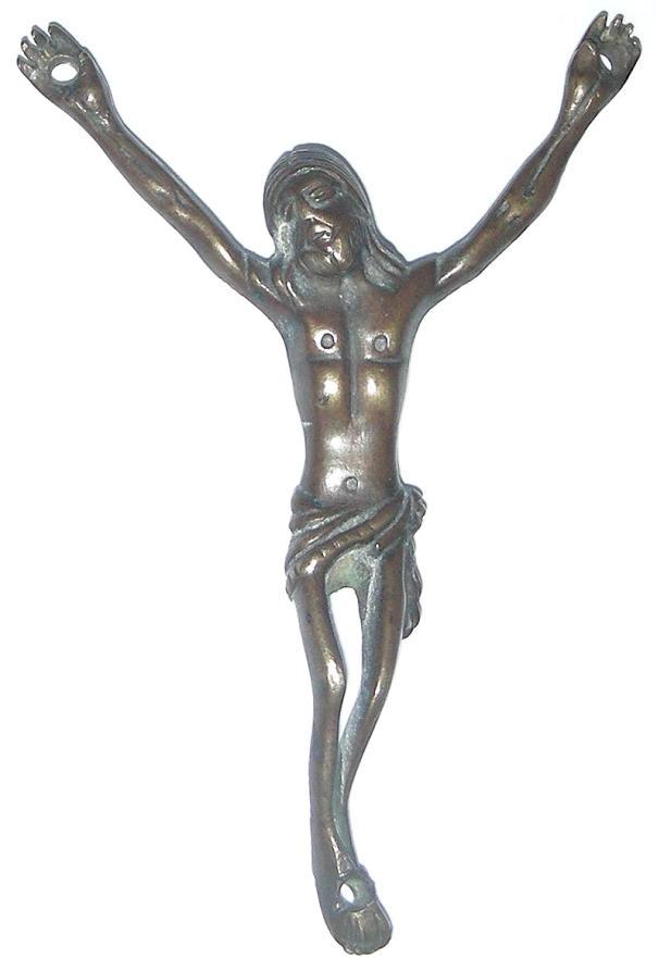 Antiguo Cristo de bronce con patina oscura y brazos elevados Cristodesintraanv