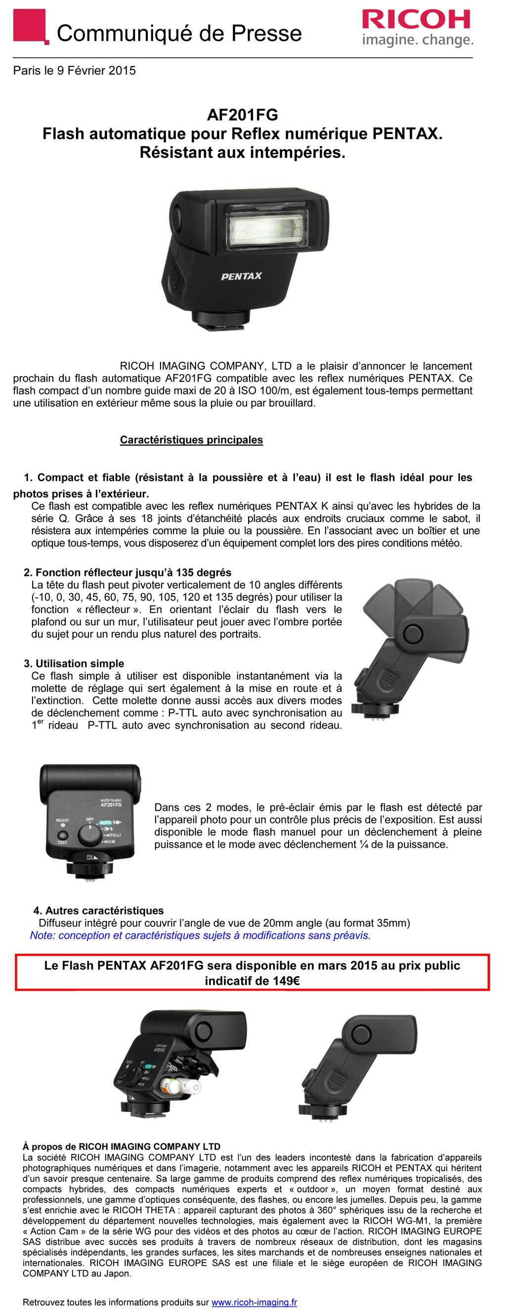 PENTAX RICOH IMAGING - Communiqué de Presse 09/02/2015 - Flash PENTAX AF201FG 3UsnoU