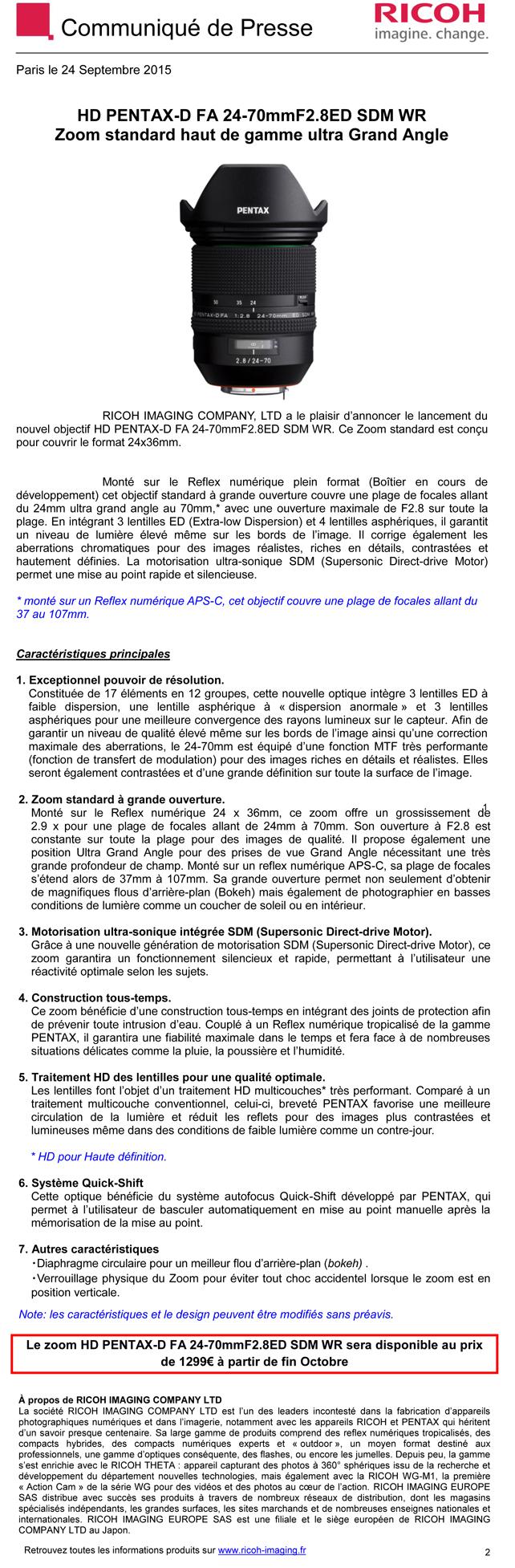 PENTAX RICOH IMAGING - Communiqué de Presse 24/09/2015 - HD PENTAX-D FA 24-70mmF2.8ED H245p5