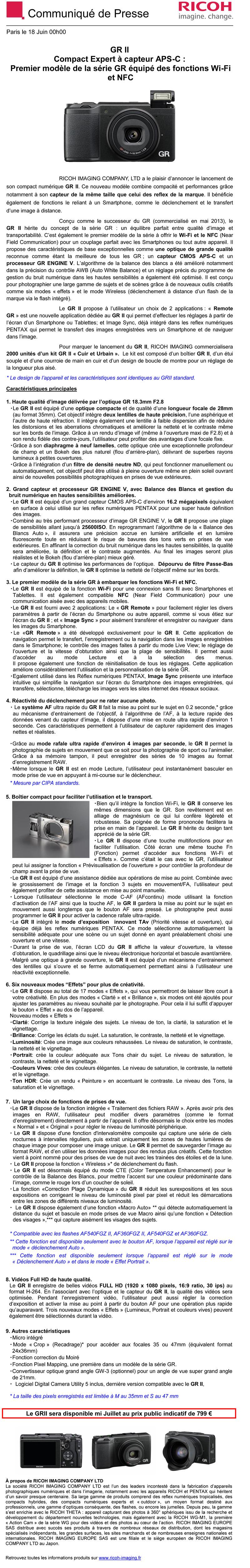 PENTAX RICOH IMAGING - Communiqué de Presse 18/06/2015 - GR II QwHFrX