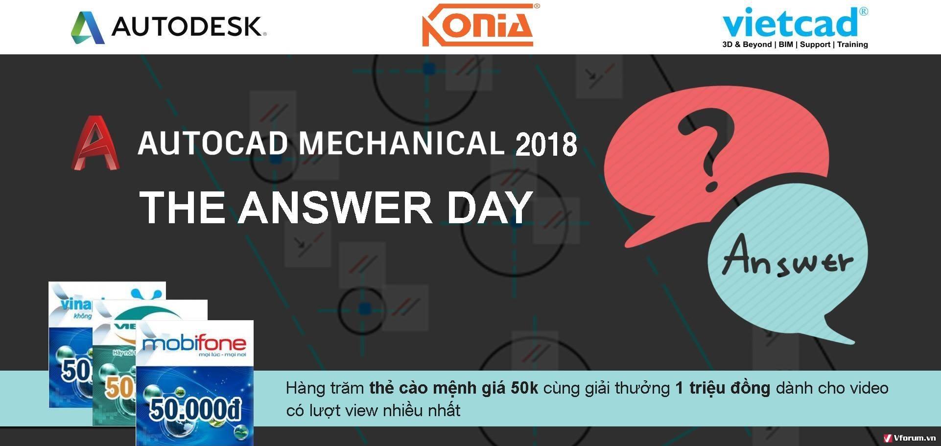 [Livesteam] Giải đáp và Công bố Trúng thưởng của Sự kiện AutoCAD Mechanical 2018 Answer Day Q5MKWV