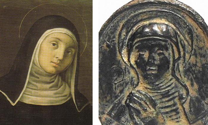 Escolástica - Bustos acolados Jesús y María / Santa Escolástica (R.M. SXVII-O253) 6gxx